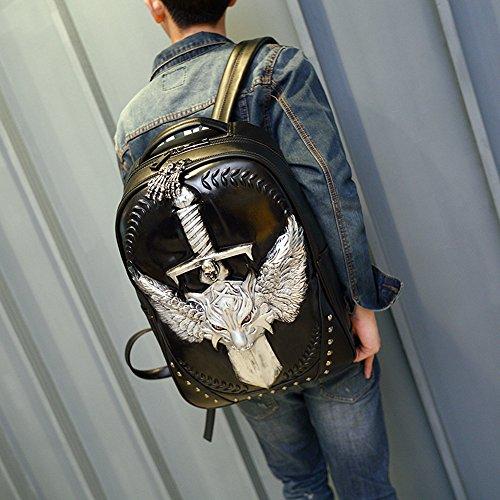 Doble bandolera Halloween Rock unisex 3D Leopard Head iPad mochila Negro