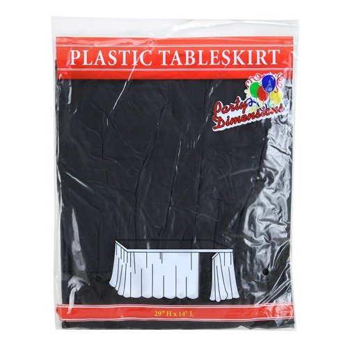 (Party Dimensions Single Count Plastic Table Skirt, 29 by 14-Feet, Black)