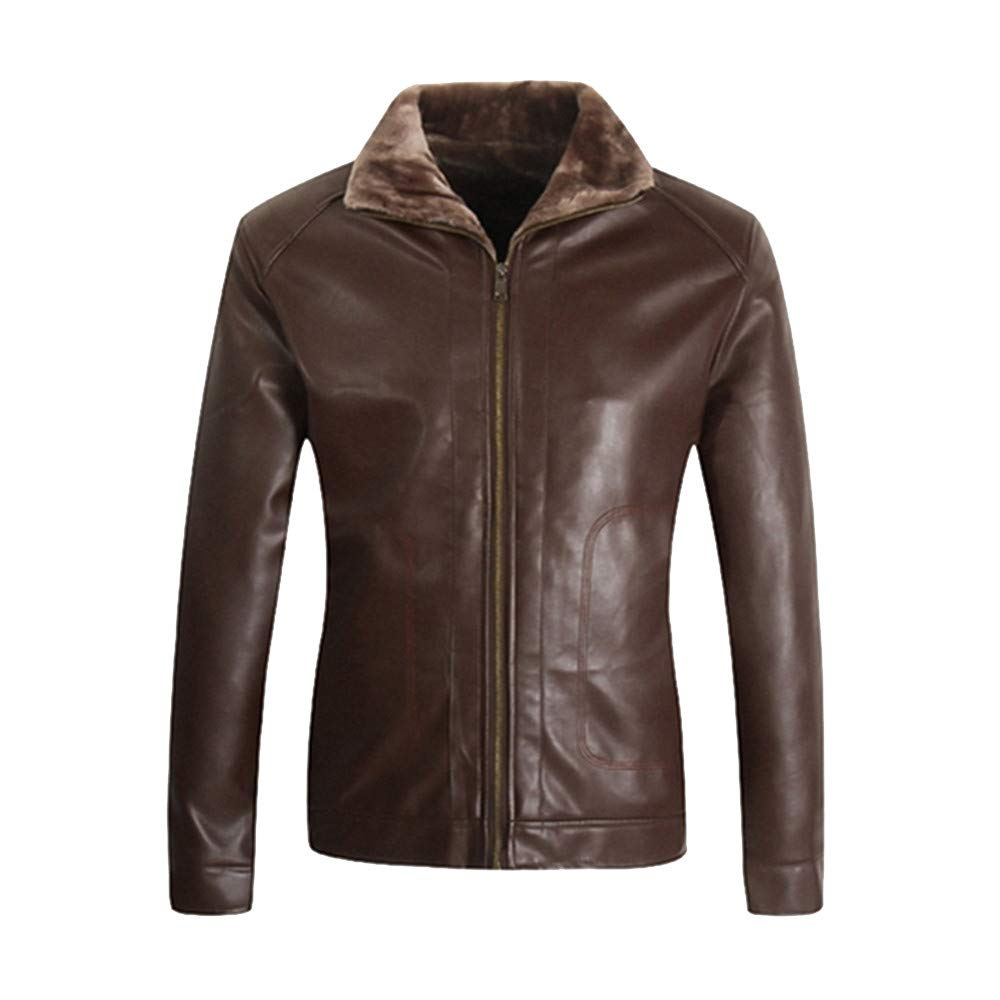 Fashion Men's Faux Leather Jacket Pocket Zipper Thermal Motorcycle Bomber Shearling Leather Jacket Top Coat G-Real