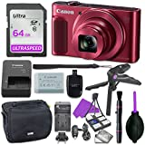 Canon Powershot SX620 Point & Shoot Digital Camera Bundle w/ Tripod Hand Grip , 64GB SD Memory , Case and More (Red)