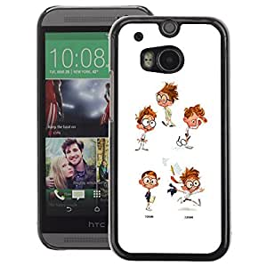 A-type Arte & diseño plástico duro Fundas Cover Cubre Hard Case Cover para HTC One M8 (Cool Kid Ginger White Character Glasses)