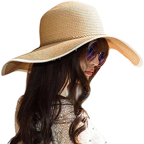 (Lanzom Womens Wide Brim Straw Hat Floppy Foldable Roll up Cap Beach Sun Hat UPF 50+ (Style)