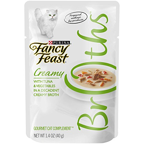 Purina Fancy Feast Broths for Cats, Creamy, With Tuna and Vegetables, 1.4-Ounce Pouch, Pack of 32 by Purina Fancy Feast