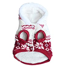 SODIAL(R)Winter Warm Thick Snowflake Print Pet Clothes Hoodie Dog Coat Costumes red XS