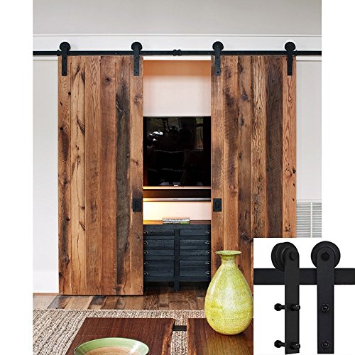 6FT Double Rustic Style Sliding Barn Door Hardware Soft Close Roller Track Kit by unknown
