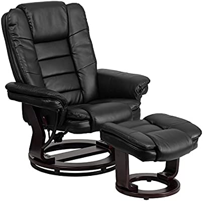 Flash Furniture Contemporary Multi-Position Recliner with Horizontal Stitching and Ottoman with Swivel Mahogany Wood Base in Black Leather
