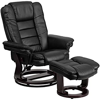 Charmant Flash Furniture Contemporary Black Leather Recliner And Ottoman With  Swiveling Mahogany Wood Base