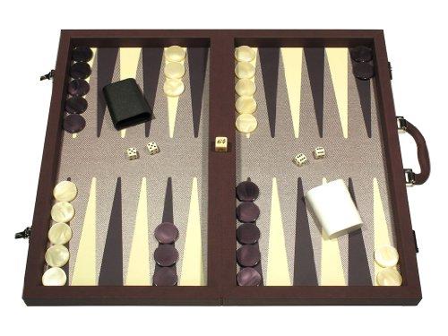 (Dal Negro Composite Fiber/Leatherette Backgammon Set Board Game, Attache Case - Bordeaux )