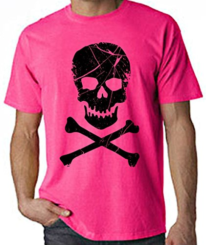 Tribal T-Shirts Skull and Crossbones Pirate Neon Men's T-Shirt (XL, Neon Pink) (Neon Skull And Crossbones)