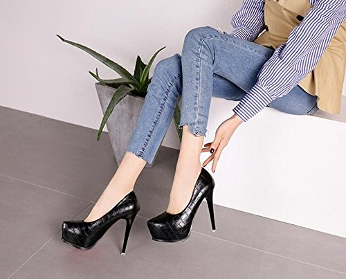 Waterproof Fine High Single Leather 13Cm Black Leisure 39 Nightclub Work Shoes MDRW With Shoes Elegant Spring Party Lady Fashion Heeled Shoes Sexy 0z6Zw7q