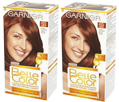 garnier belle color coloration permanente chtain 53 chtain clair dor acajou naturel lot de 2 amazonfr hygine et soins du corps - Belle Color Acajou