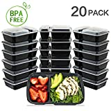 20 Pack - SimpleHouseware 2 Compartments Reusable Meal Prep Storage Container Boxes, 28 Ounces