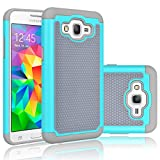 Grand Prime Case, Tekcoo(TM) [Tmajor Series] [Turquoise/Grey] Shock Absorbing Hybrid Rubber Plastic Defender Rugged Slim Hard Protective Case Cover Shell For Samsung Galaxy Grand Prime / Go Prime Case