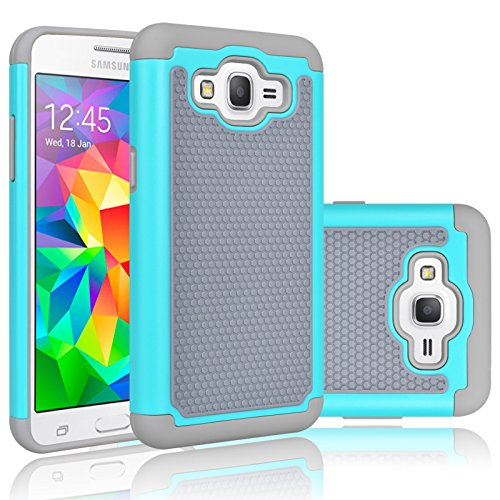 Price comparison product image Grand Prime Case, Galaxy Go Prime Case, Tekcoo [Tmajor] Shock Absorbing [Turquoise] Hybrid Rubber Plastic Defender Rugged Slim Hard Protective Case Cover Shell For Samsung Galaxy Grand (GO) Prime