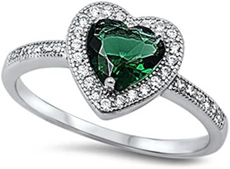Simulated Emerald & Clear Cz Heart .925 Sterling Silver Ring Sizes 4-12