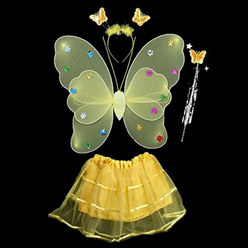 4 Pcs Wings Wand Set for Baby Girls Dress up Birthday Halloween Party Favor Gift (Yellow)