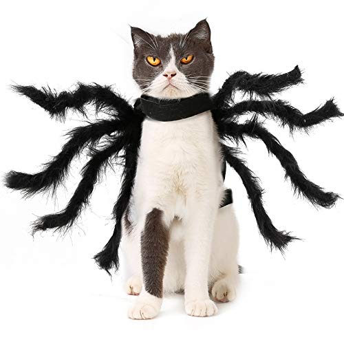 Spider Dog Costume Funny Halloween Tarantula Cat Costume, Creepy Crawly Araneid Pet Costume Dog Cosplay Dress for Puppy Small Medium Large Cats Special Events Photo Props]()