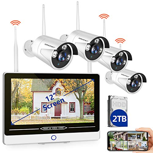 "【2TB HDD & 12INCH】 SMONET All in One with 12"" Monitor 1080P Security Camera System Wireless,8-Channel Outdoor Home…"