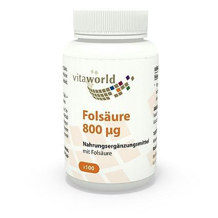Ácido fólico 800µg 100 Cápsulas Vita World Producción de Farmacia Alemania