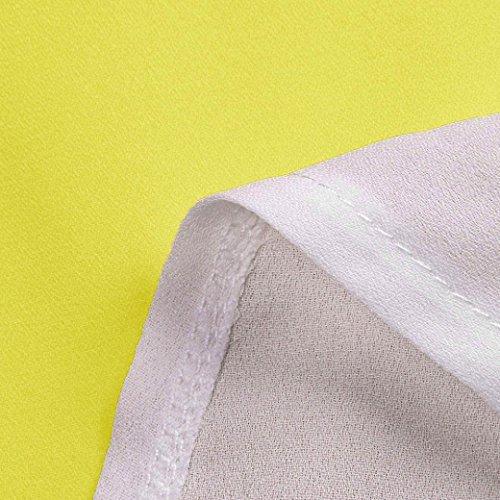 Couleur Manche S T Tops Chemisier ~ Cou Mousseline O Soie Bloc Courte de Casual Femmes en de Jaune Shirts XL Shirts Wolfleague Tunique Chic FRqp84n8