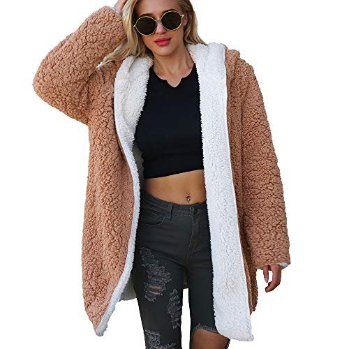Perman Womens Coat Winter Fashion Warm Parka Artificial Wool Dichroic Jacket Hooded Long Outerwear Clearance Sale(M,Brown - White)]()