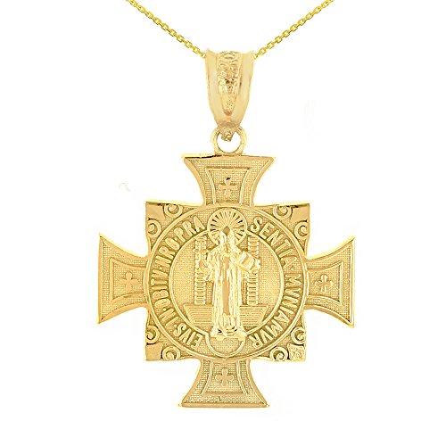 14k Yellow Gold Saint Benedict Maltese Cross Religious Pendant Necklace (1.06