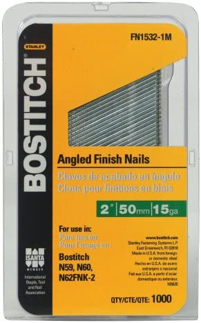 "Bostitch FN1532-1M Style Angled Finish Nail 2/"" 15 GA gauge Coated 1,000 nails"