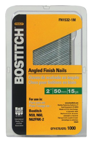 BOSTITCH FN1532-1M 2-Inch 15-Gauge FN Style Angled Finish Nails, 1000