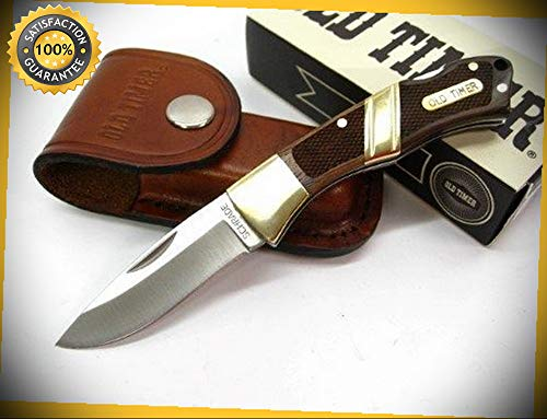 (Old Timer Mountain Beaver Jr. Small Lockback Folding Sharp Knife with Sheath 28OT perfect for outdoor camping hunting)