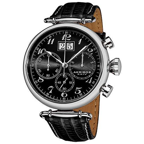 (Akribos XXIV Men's AK628BK Retro Chronograph Stainless Steel Black Dial Black Leather Strap Watch)