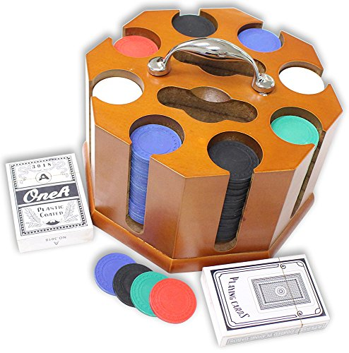 200 Poker Chip Revolving Rack - 2 Premium Card Decks & Dealer Chip Included by ToolUSA