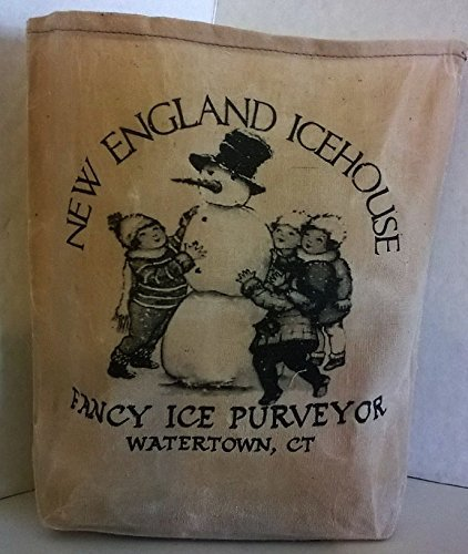 000 – New England Ice House Fabric Feed Sack Luminary Bag with Country, Primitive, Vintage Image. Battery Operated Flickering Candle and Candle Holder -