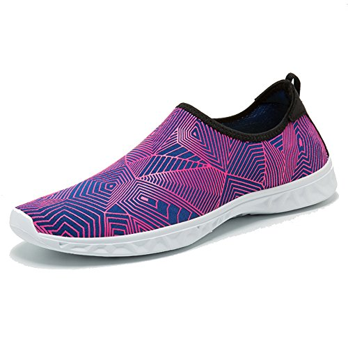 BIGU Water Shoes Mens Womens Barefoot Shoes Beach Snorkeling Swimming Quick Drying Slip On Yoga Shoes Skin Socks for Unisex Sports Aqua Shoes for Walking,Park,Boating Rose-jh