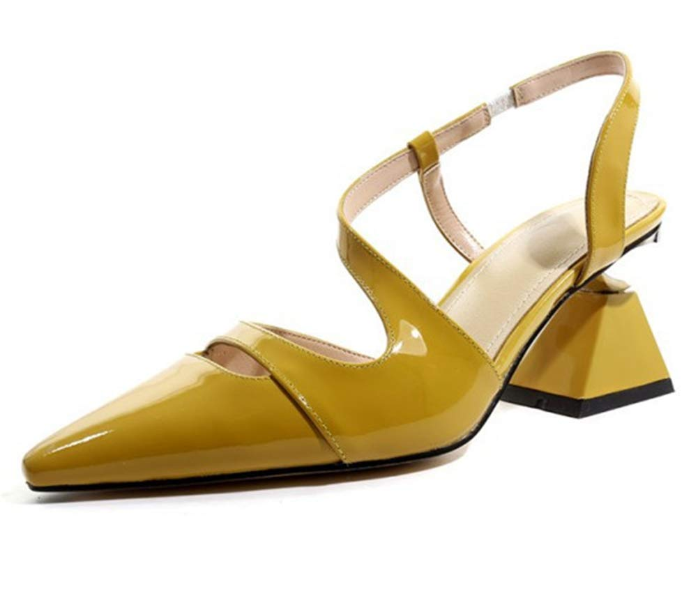 Yellow Women's Ladies Pumps Heeled Slingback Sandals Mary Jane shoes Block Heels Closed Pointed Toe Ankle Buckle Court shoes Dress Party Black Yellow