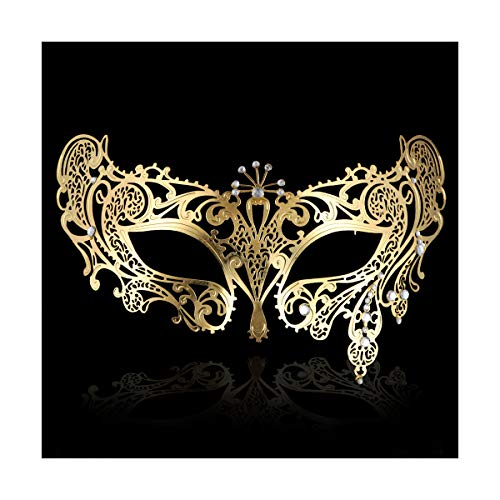 FACEWOOD Masquerade Mask for Women Ultralight Gorgeous Gold & Silver Shiny Metal Rhinestone Mask. (Peacock Gold)