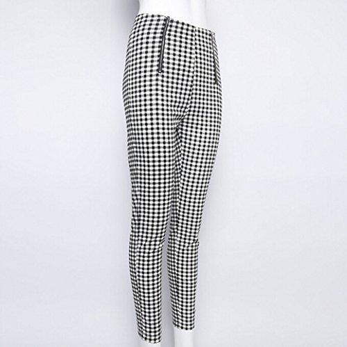 8ac8f0801a8 Gueuusu Women s High Waist Plaid Skinny Pants Slim Fit Pencil Pants Trousers  Leggings