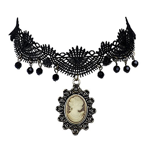 lureme Vintage Classic Jewelry Cameo Maiden Pendant Black Lace with Black Beads Tassel Tattoo Choker Necklace for Women Girls Teens (nl004173)