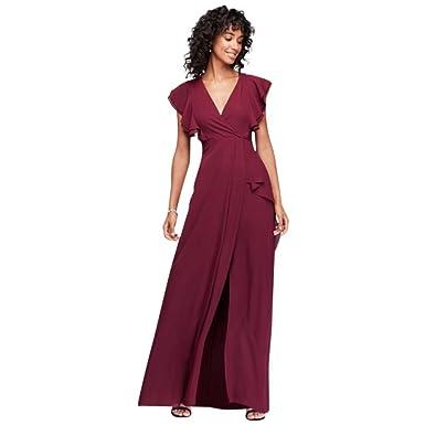 7977dd14b3 David s Bridal Flutter Sleeve Chiffon Bridesmaid Dress Style 264210 ...