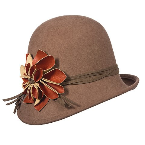 Scala Collezione Wool Felt Cloche with Faux Leather Flower (Pecan)