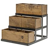 Expressly HUBERT Reclaimed Wood Collection 3 Bin Condiment Holder - 11 1/2''L x 13''W x 12 1.2''H