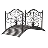Outsunny 4' Metal Arched Backyard Decorative Garden Bridge - Black Bronze: more info