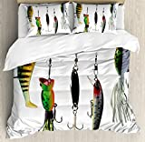 Ambesonne Fishing Decor Duvet Cover Set by, Various Type of Fishing Baits Hobby Leisure Sports Hooks Catch Elements Image, 3 Piece Bedding Set with Pillow Shams, Queen/Full, Multi