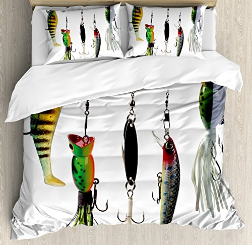 Ambesonne Fishing Duvet Cover Set, Various Type of Fishing Baits Hobby Leisure Passtime Sports Hooks Catch Elements, Decorative 3 Piece Bedding Set with 2 Pillow Shams, Queen Size, White