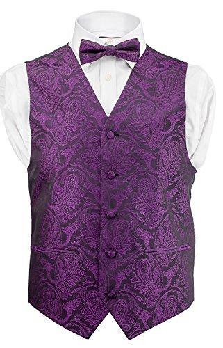 Men's Dress Vest Paisley Design 4pc Set Vest / Tie / Hanky (Vest Color)