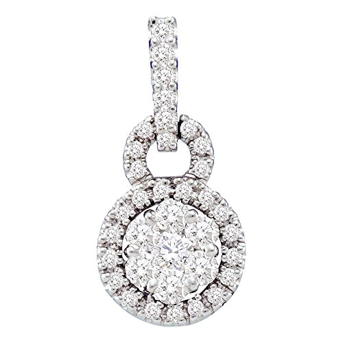Roy Rose Jewelry 14K White Gold Womens Round Diamond Circle Frame Flower Cluster Pendant 1/2-Carat tw ()
