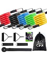 CFX Bandas de resistencia de ejercicio, juego de bandas de resistencia de fitness con 5 tubos de fitness/asas/anclaje de puerta/correas de tobillo/bolsa de transporte/guías de entrenamiento bandas de gimnasio para hombres y mujeres