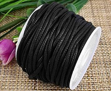 Ecloud Shop® 2mm Negro Encerado algodón Collar cordón Cuerda joyería Haciendo artesanía Rebordear