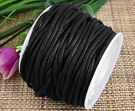 Ecloud Shop® 2mm Negro Encerado algodón Collar cordón Cuerda ...