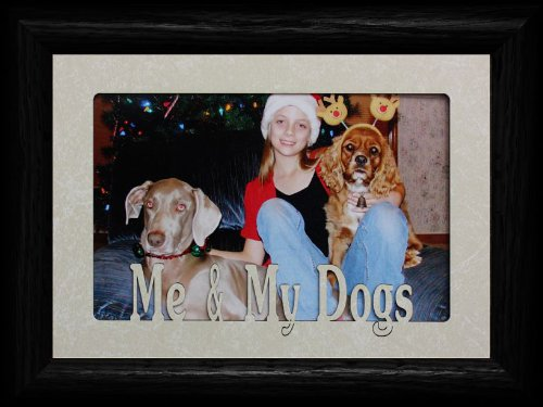 PersonalizedbyJoyceBoyce.com 5x7 ME & My Dogs ~ Landscape Cream Marble Mat with Black Picture Frame ~ Holds a 4x6 or Cropped 5x7 Photo ~ Wonderful Keepsake Gift for a Dog Lover!