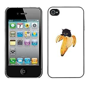 Caucho caso de Shell duro de la cubierta de accesorios de protección BY RAYDREAMMM - iPhone 4 / 4S - Gatito Gato Plátano divertido Lol Yolo Animal